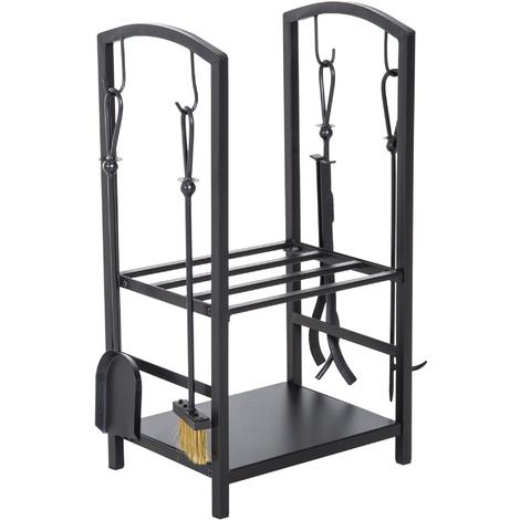 Serviteur de cheminée - porte bûches - range bûches multi accessoires 2 étagères 40L x 30l x 75H cm acier noir