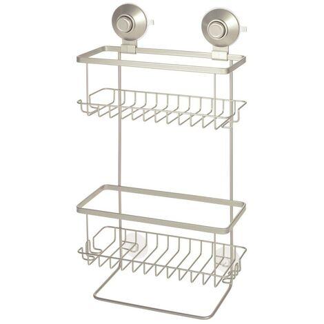 Serviteur de douche à ventouse 2 bacs mat argenté everett - IDesign - Interdesign - Beige