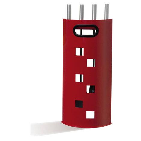 Serviteur de poêle à bois en acier Quadro rouge