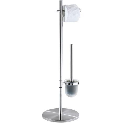 Serviteur WC, Distributeur Papier toilette et Brosse WC, Pieno, Acier mat WENKO