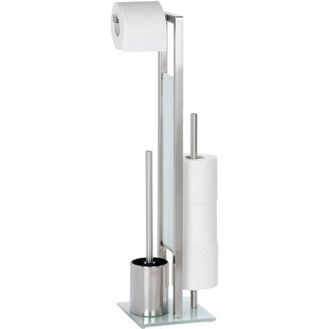 Serviteur WC Rivalta, Brosse WC et dérouleur papier toilette, Acier Inox mat