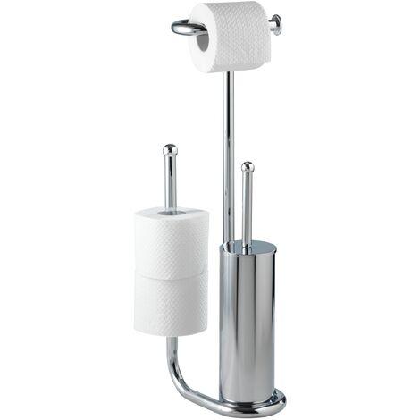 Serviteur WC, support papier toilette et brosse WC, Universalo Chrome WENKO