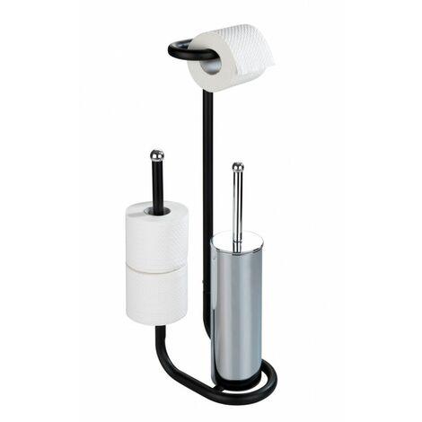 Serviteur WC, support papier toilette et brosse WC, Universalo noir