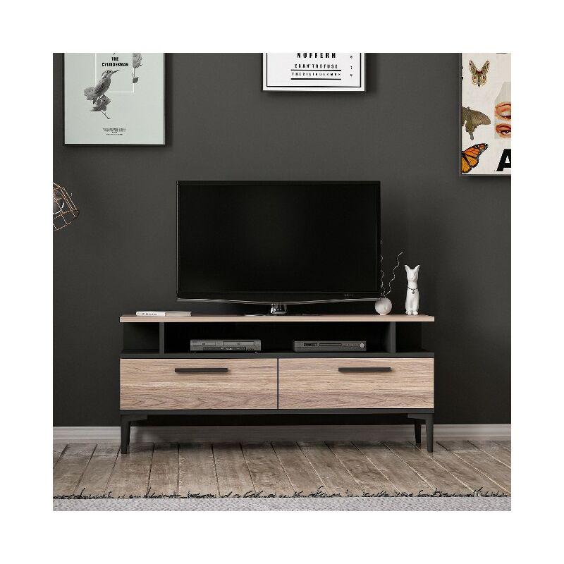 Homemania - Sery TV-Schrank - Modern - mit Tueren, Regalen - vom Wohnzimmer - Schwarz, Holz aus Holz, 120 x 35 x 52 cm