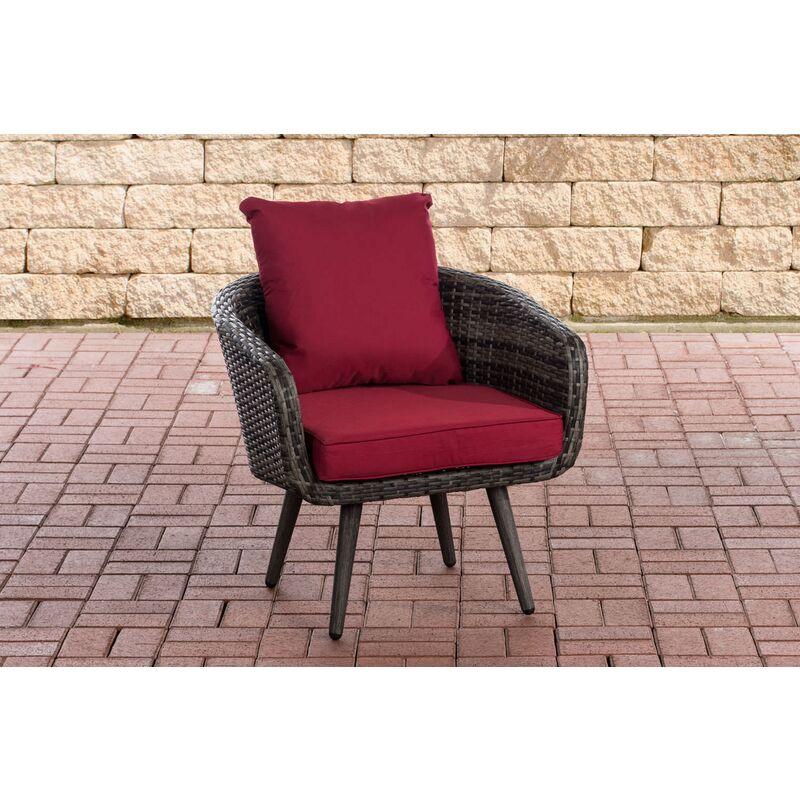 CLP - Sessel Ameland Sitzhöhe 40 cm-graumeliert-Rubinrot