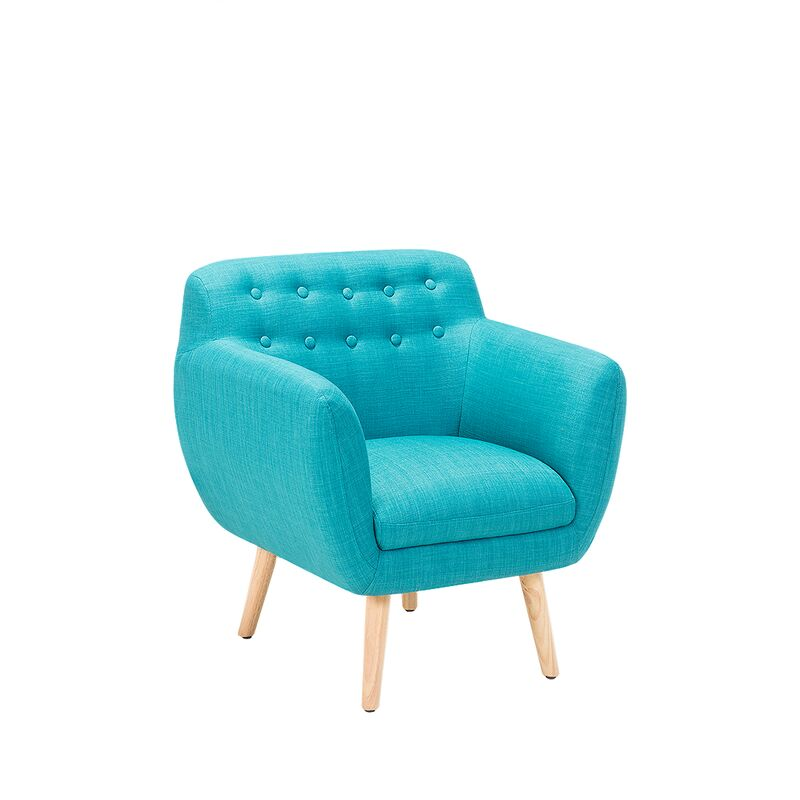 Sessel Blau Polsterbezug Gummibaumholz Retro-Stil Dekorative Versteppung Wohnzimmer - BELIANI
