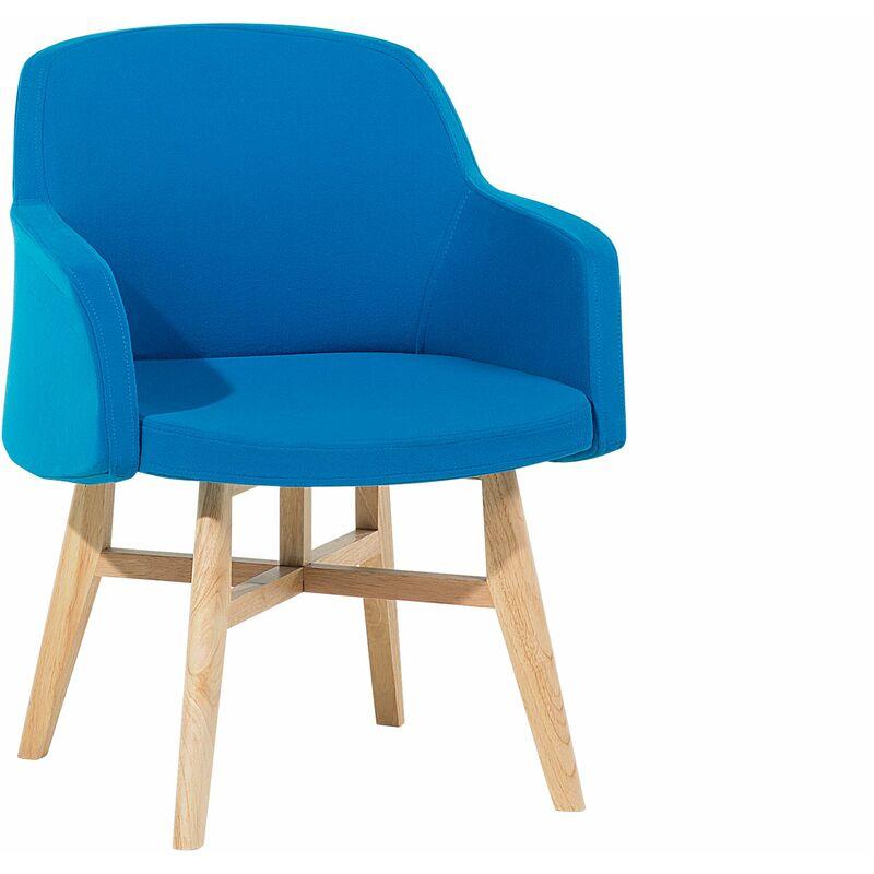 Sessel mit Armhlehnen Blau Polsterbezug Holzbeine Modern