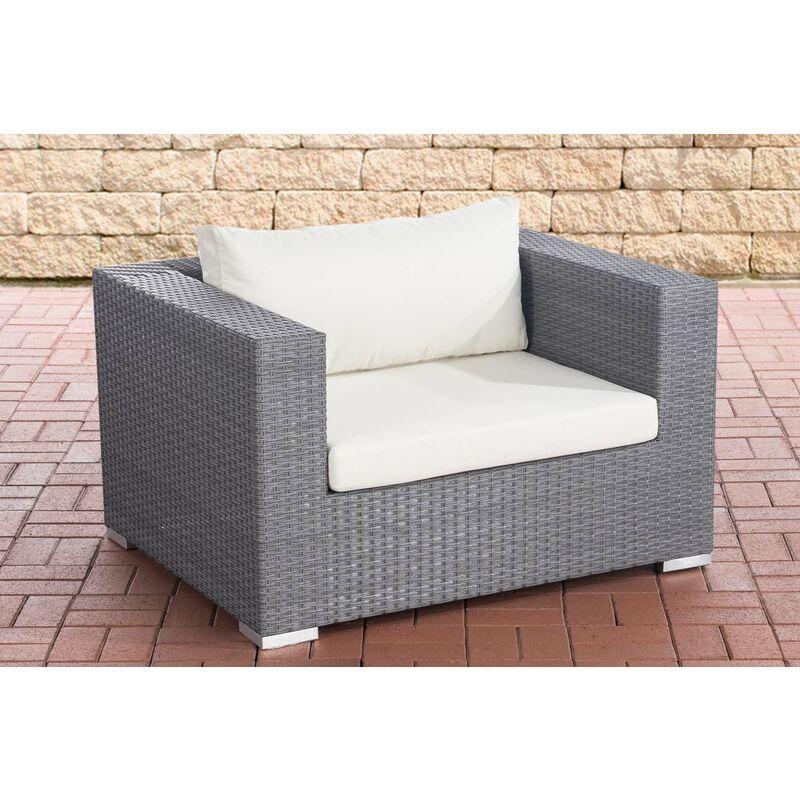 CLP - Sessel Casablanca-grau/flach-Cremeweiß