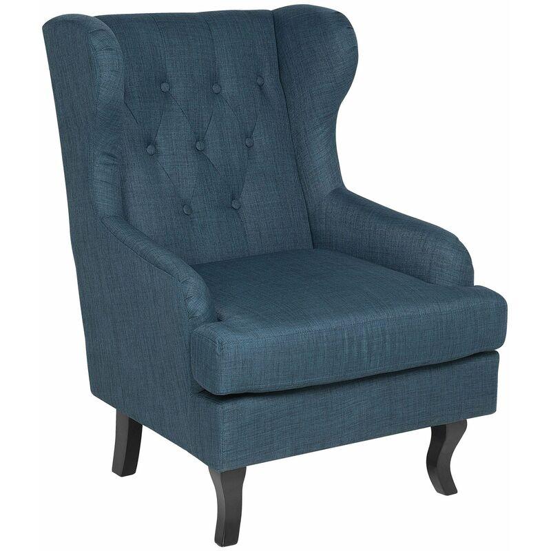 Beliani - Ohrensessel Blau Polsterbezug Kiefernholz Einzelsessel Wohnzimmer elegant
