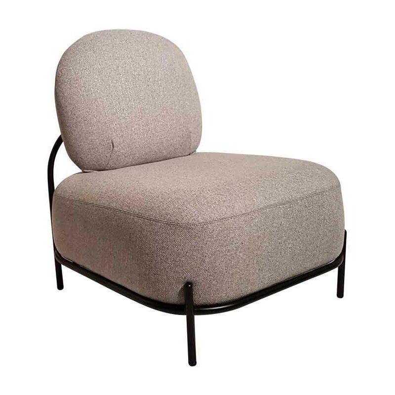 Sessel aus grauem Stoff und Sockel aus lackiertem Metall - Fashion Commerce