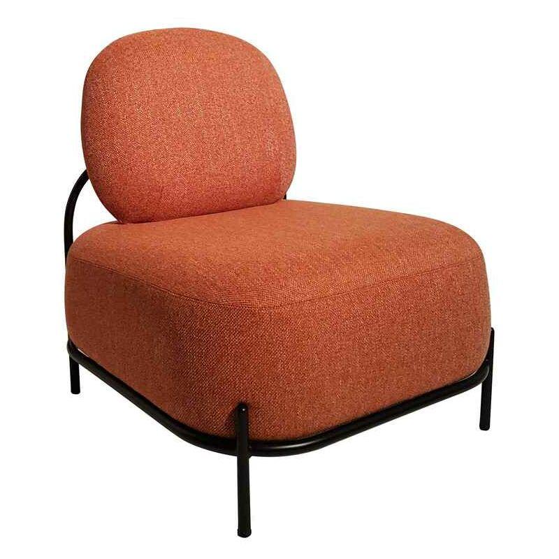 Sessel aus orangefarbenem Stoff und Sockel aus lackiertem Metall - Fashion Commerce