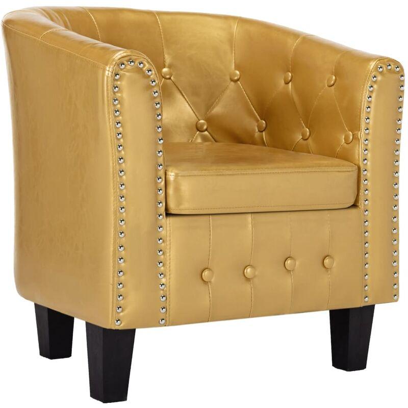Sessel Kunstleder Glänzendes Golden