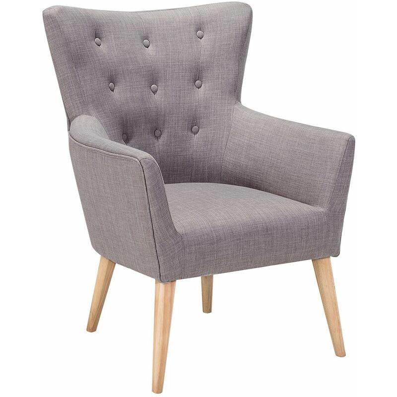 Beliani - Sessel grau Polsterbezug Birkenholz dekorative Versteppung auf dem Rüchkenlehnen für Wohnzimmer Schlafzimmer