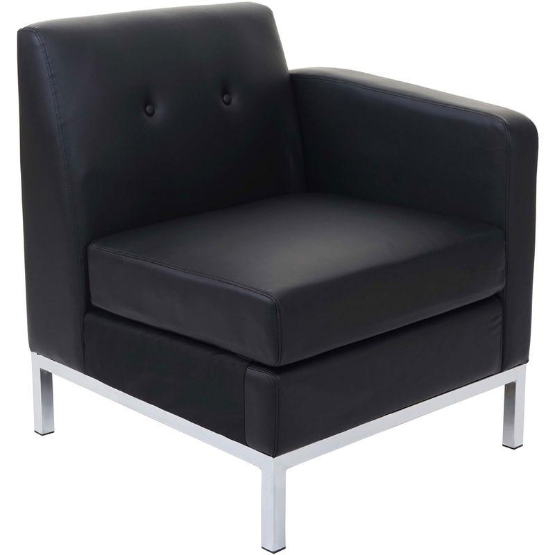 Sessel HHG-125, Modular Seitenteil rechts mit Armlehne, erweiterbar Kunstleder ~ schwarz