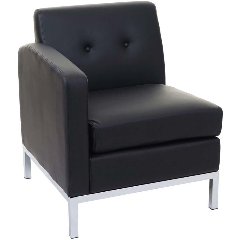 Sessel 126, Modular Seitenteil links mit Armlehne, erweiterbar Kunstleder ~ schwarz - HHG