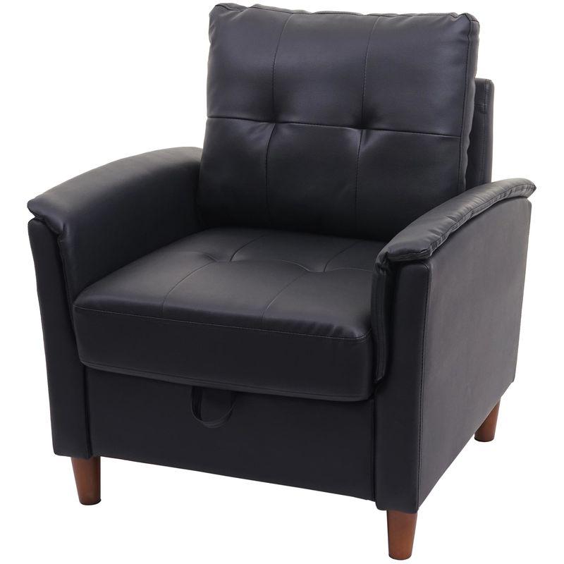 Sessel 691, Loungesessel Cocktailsessel Relaxsessel Fernsehsessel, Stecksystem Staufach ~ Kunstleder, schwarz - HHG