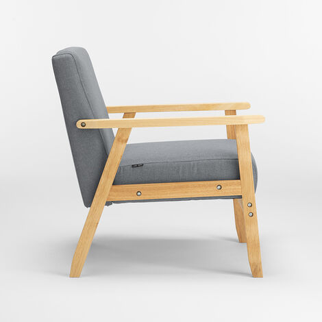 Sessel Holzstuhl im skandinavischen Vintage-Design mit UTEPLASS-Armlehnen   Farbe: Dunkel Grau - SP192FAGS
