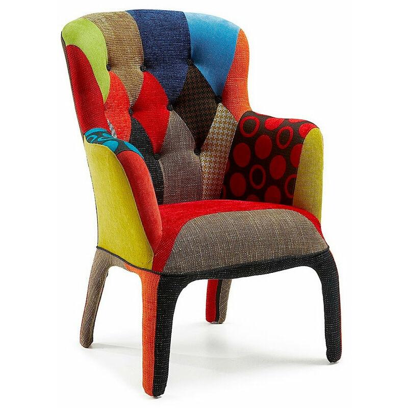 Fashion Commerce - Sessel im kommerziellen Stil aus Phantasie-Patchwork-Stoff