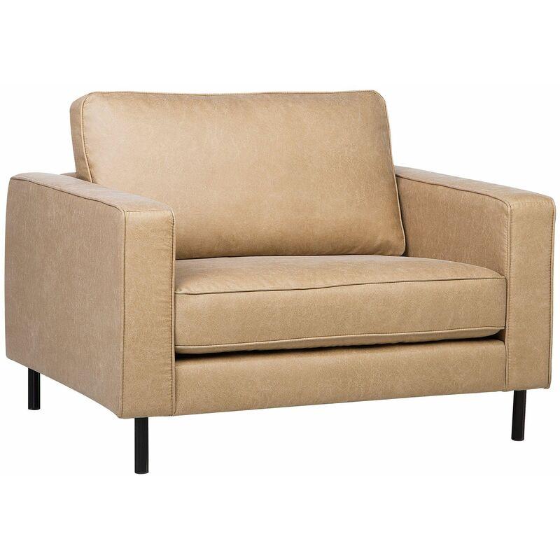 Beliani - Sessel Beige Polsterbezug Metall Lederoptik Dicke Sitzfläche Retro-Stil