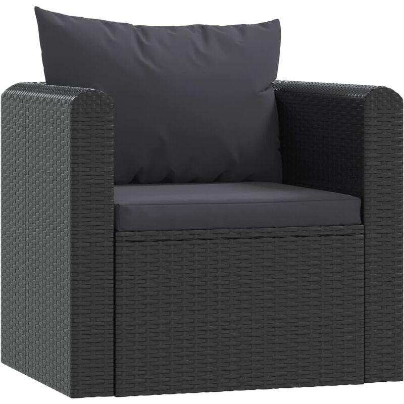 Sessel mit Auflagen Poly Rattan Schwarz