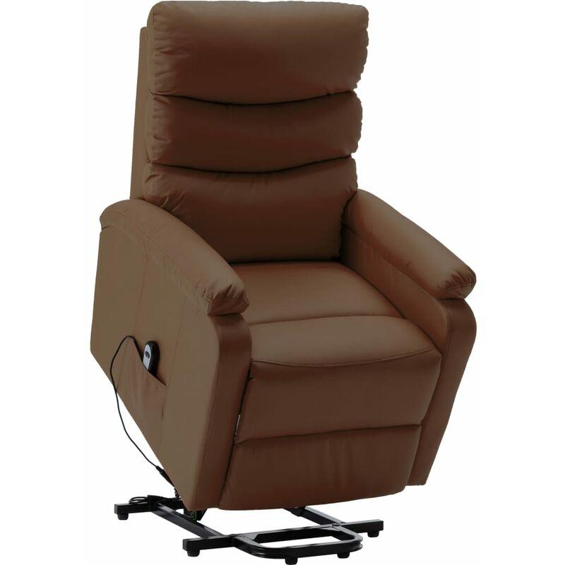 Sessel mit Aufstehhilfe Braun Kunstleder - VIDAXL