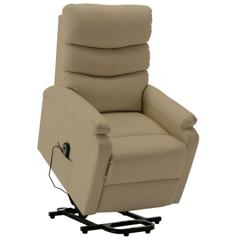 Sessel mit Aufstehhilfe Cappuccino-Braun Kunstleder - VIDAXL