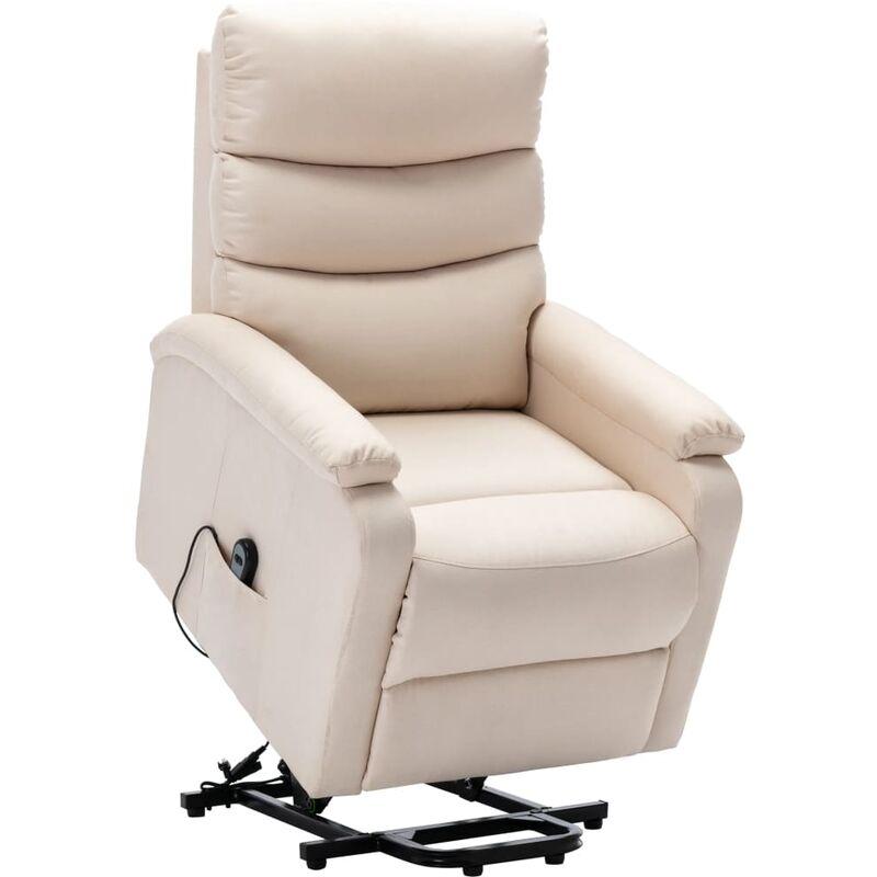 Sessel mit Aufstehhilfe Creme Stoff - VIDAXL