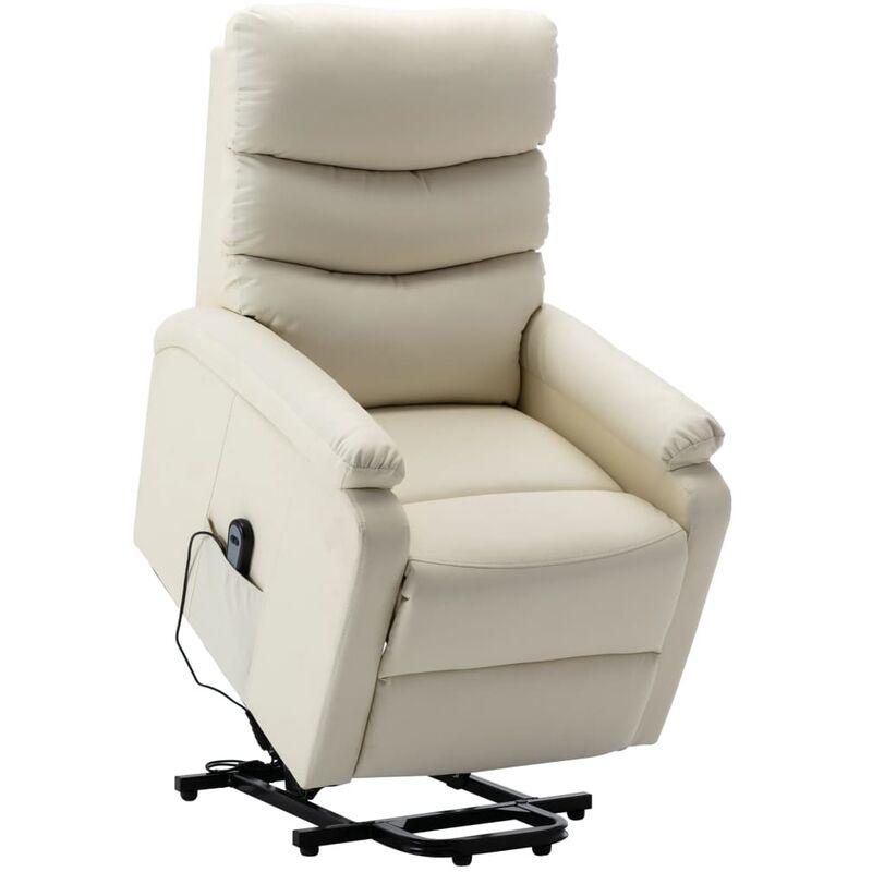 Sessel mit Aufstehhilfe Cremeweiß Kunstleder - VIDAXL