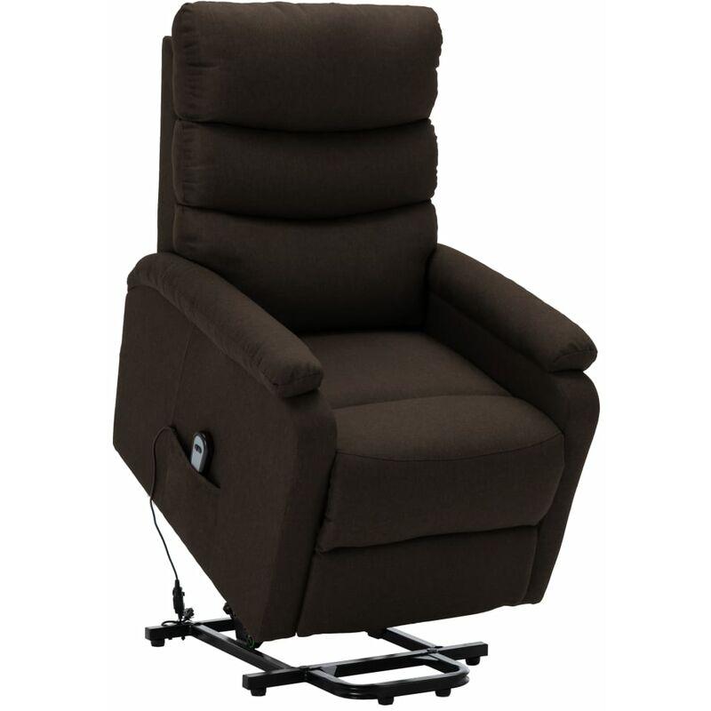 Sessel mit Aufstehhilfe Dunkelbraun Stoff - VIDAXL