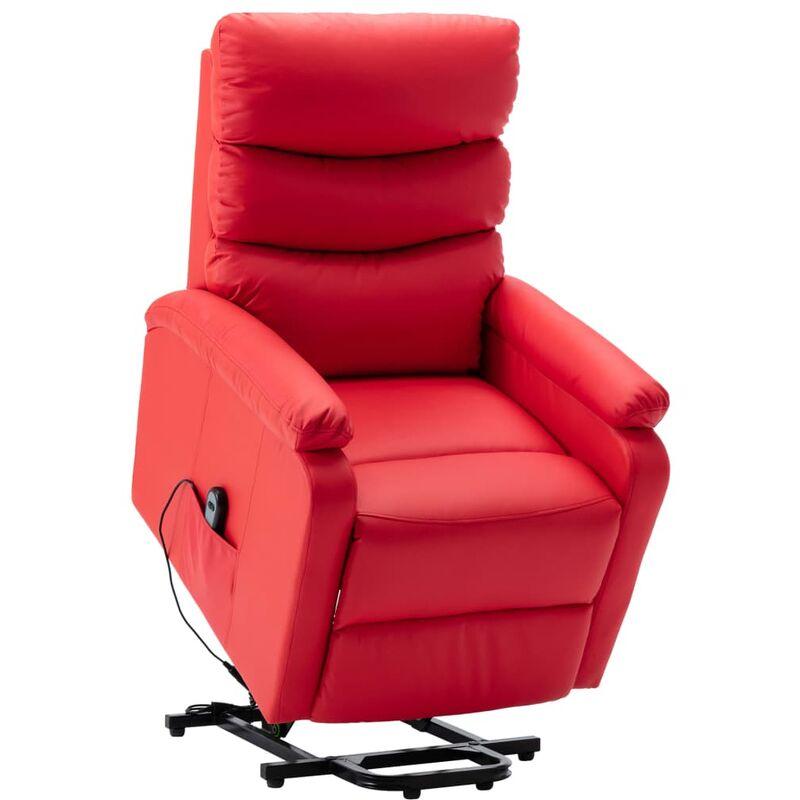 Sessel mit Aufstehhilfe Rot Kunstleder - VIDAXL