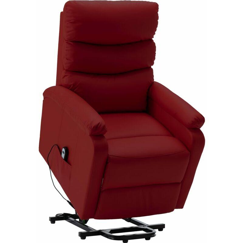 Sessel mit Aufstehhilfe Weinrot Kunstleder - VIDAXL