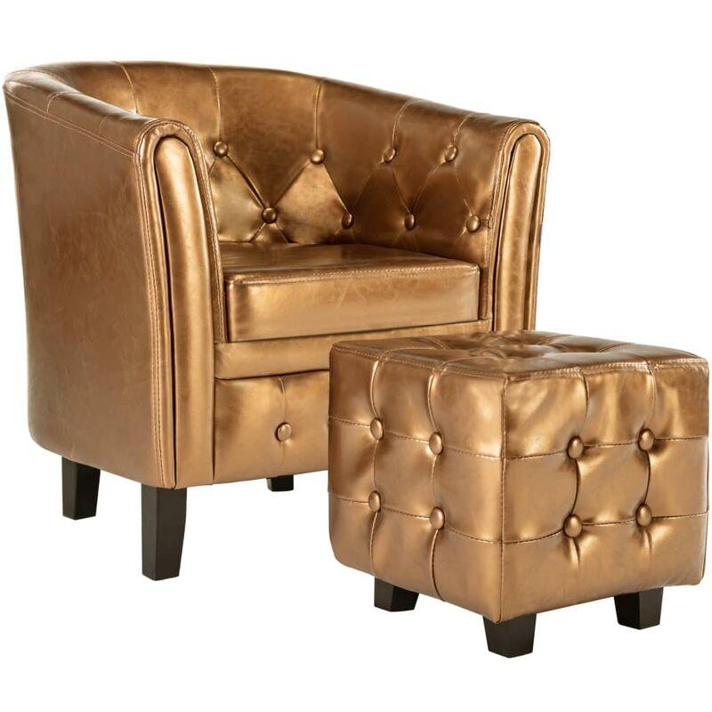 Sessel mit Fußhocker Braun Kunstleder - VIDAXL