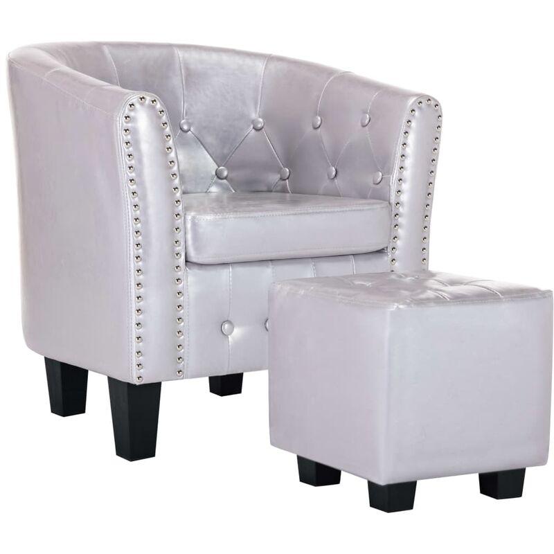 Sessel mit Fußhocker Kunstleder Glänzendes Silbern