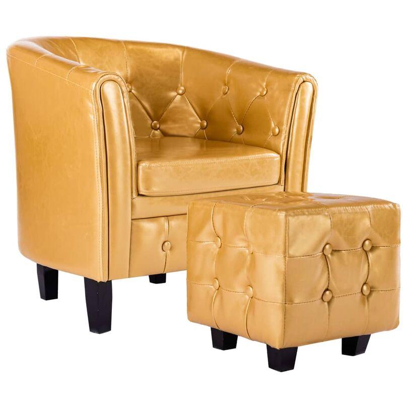 Sessel mit Fußhocker Golden Kunstleder - VIDAXL