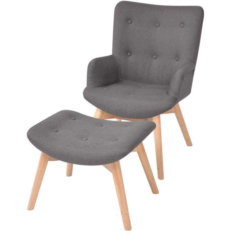 Sessel mit Fußhocker Stoff Grau - VIDAXL