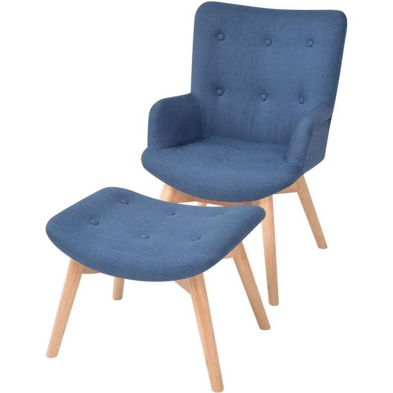 Sessel mit Fußhocker Stoff Blau - VIDAXL