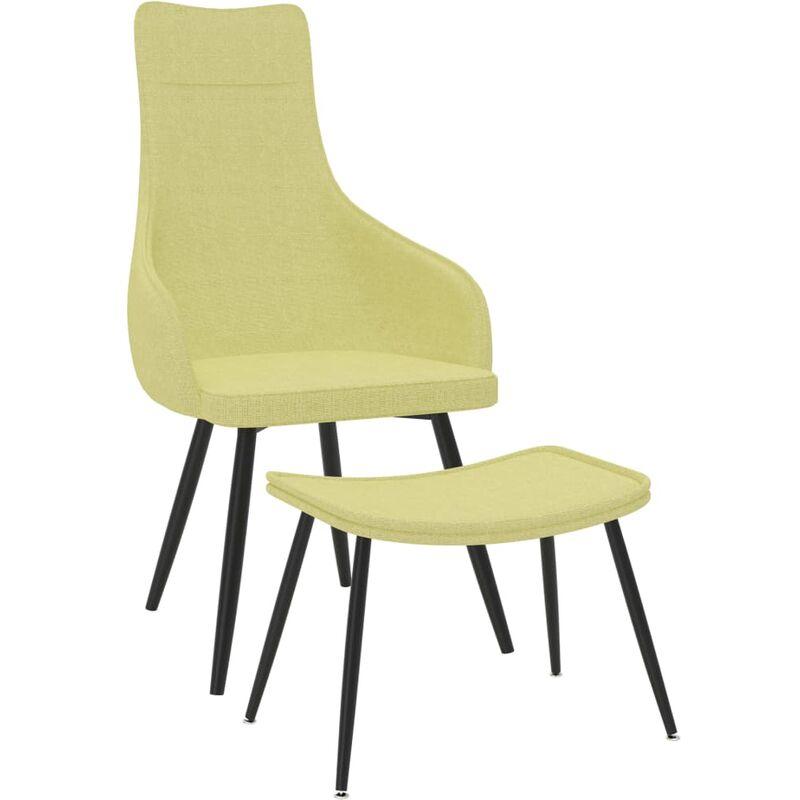 Sessel mit Fußhocker Grün Stoff - VIDAXL