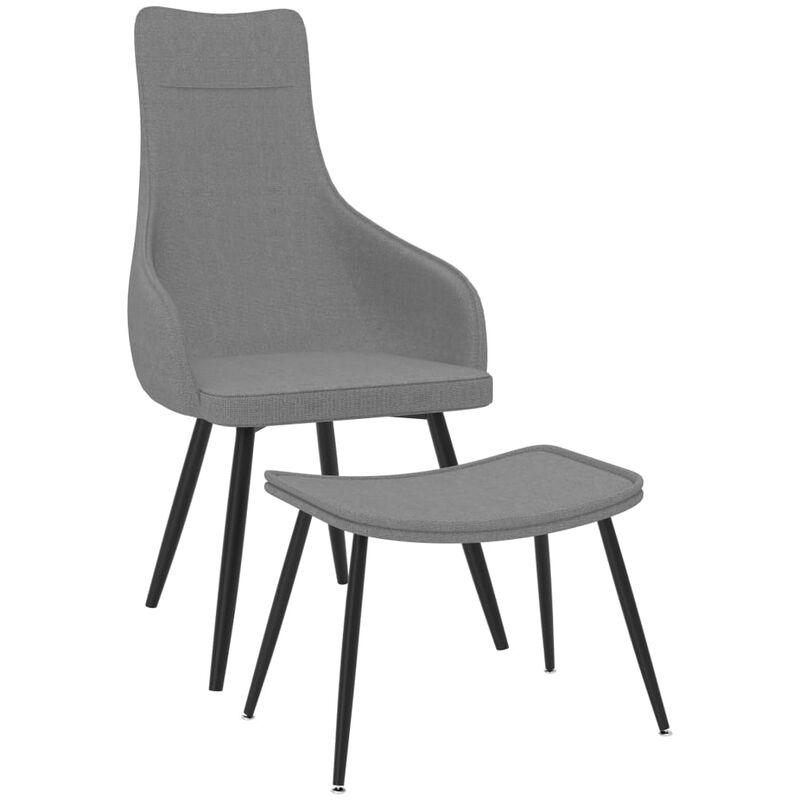 Sessel mit Fußhocker Hellgrau Stoff - VIDAXL