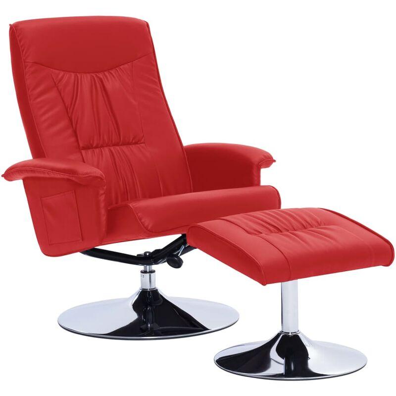 Vidaxl - Sessel mit Fußhocker Kunstleder Rot