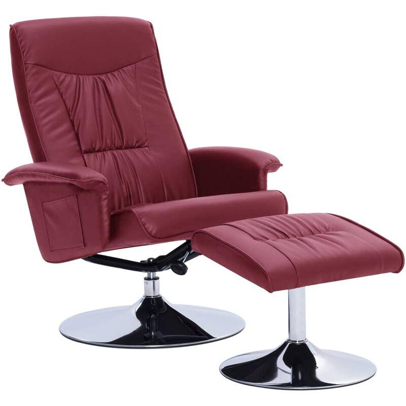 Sessel mit Fußhocker Kunstleder Weinrot - VIDAXL