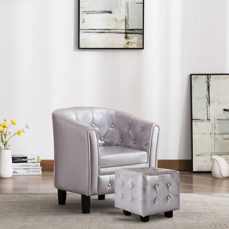 Sessel mit Fußhocker Silbern Kunstleder - VIDAXL