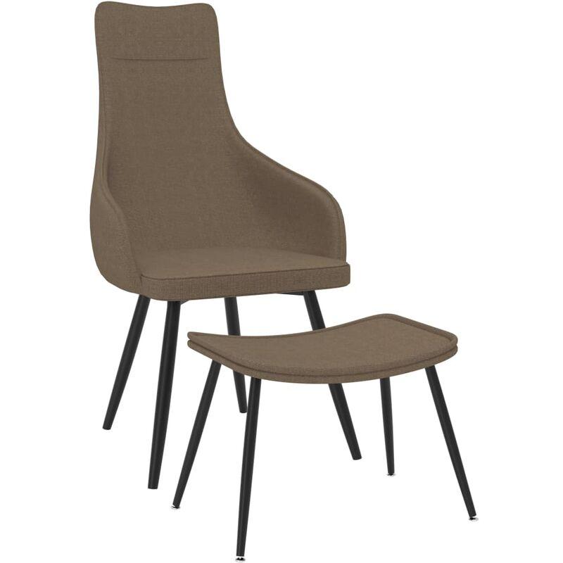 Sessel mit Fußhocker Taupe Stoff - VIDAXL