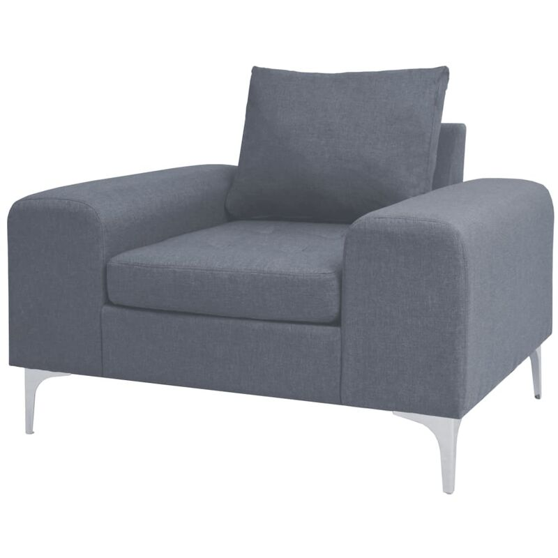 Sessel mit Kissen Stahl Stoff Hellgrau - VIDAXL