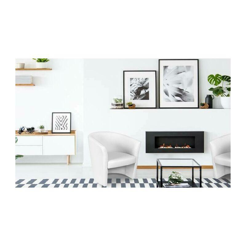 Sessel mit Öko-Lederpolsterung, Farbe Weiß, 65 x 78 x 60 cm. - DMORA