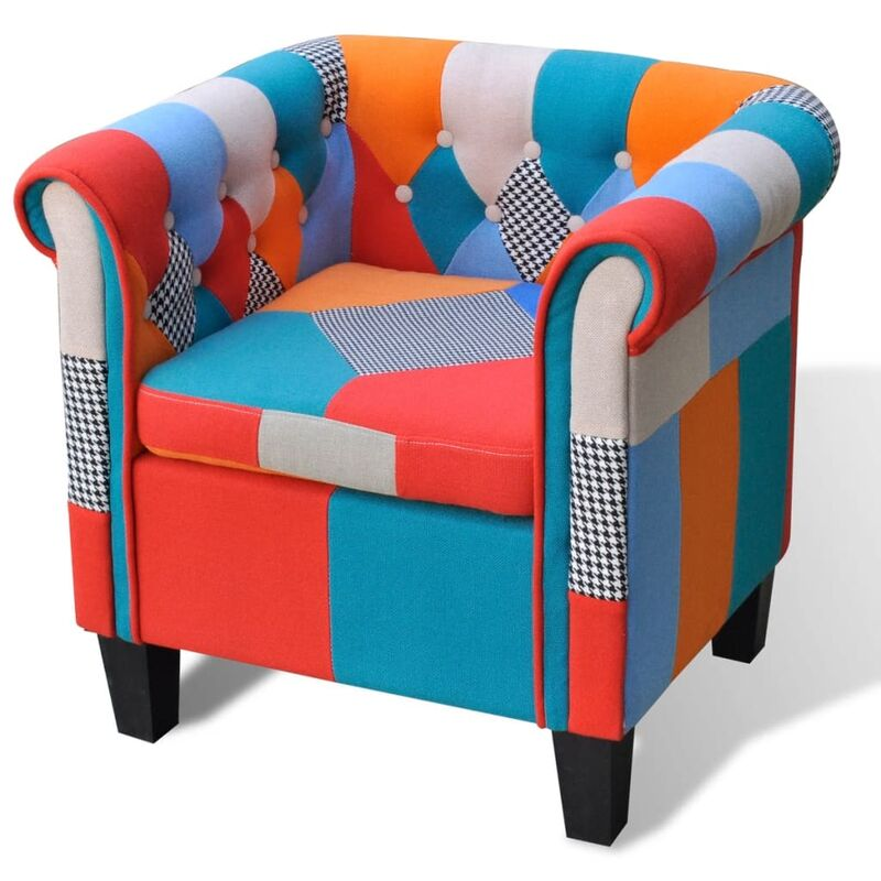 Sessel mit Patchwork-Design Stoff - ZQYRLAR