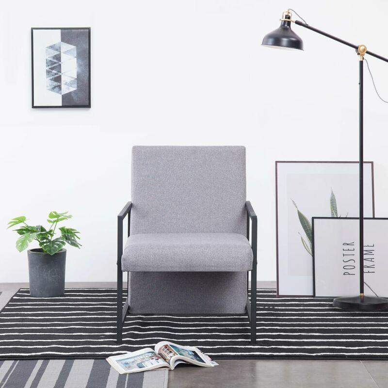 Sessel mit verchromten Füßen Hellgrau Stoff - ZQYRLAR