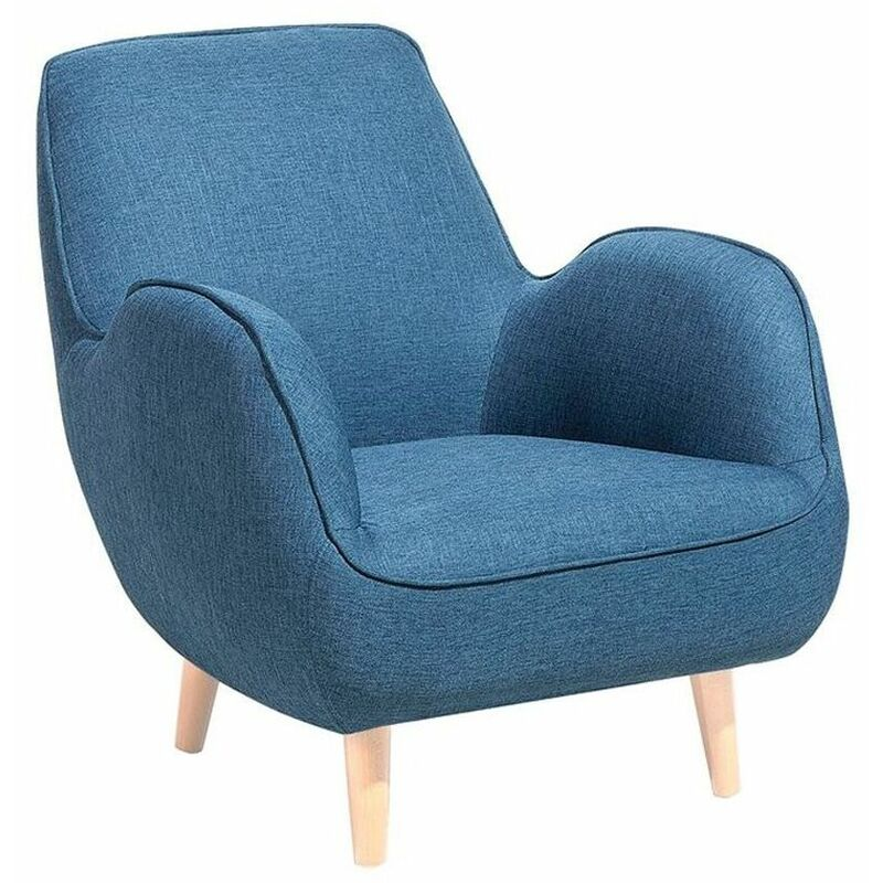 Sessel Blau Polsterbezug Buchenholz Retro-Stil Wohnzimmer - BELIANI