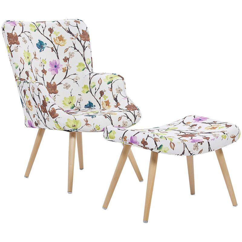 Ohrensessel Cremeweiß mit Hocker Polsterbezug Metallbeine mit Blumenmotiv Wohnzimmer Schlafzimmer Modern Skandinavischer Stil - BELIANI