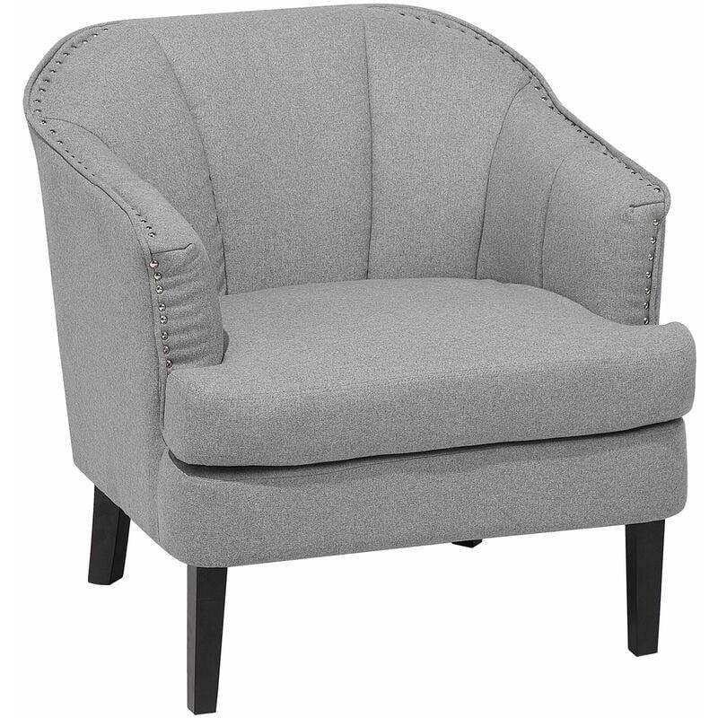 Beliani - Sessel Grau Plsterbezug Leinen Kieferholz Dicke Sitzfläche Retro-Stil