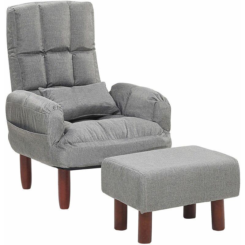 Sessel mit Hocker Grau Polsterbezug Buchenholz mit verstellbare Rückenlehne Wohnzimmer Schlafzimmer Retro-Stil - BELIANI